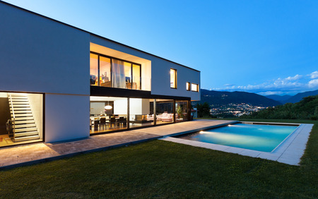 Photo for Modern villa with pool, night scene - Royalty Free Image