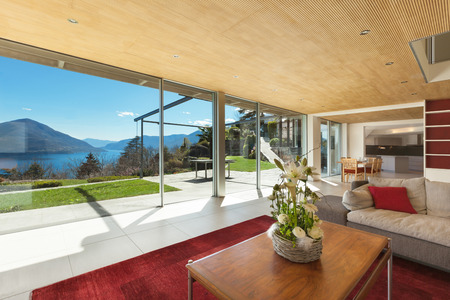 Photo for mountain house modern interior, living room - Royalty Free Image