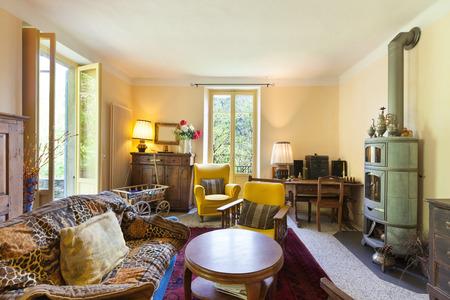 Foto de nice living room of a rustic home, vintage furniture - Imagen libre de derechos