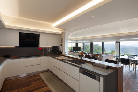 Foto per Interiors, beautiful modern kitchen of a luxury apartment - Immagine Royalty Free