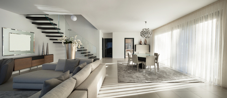 Photo for Interior of a modern apartment, comfortable living room - Royalty Free Image