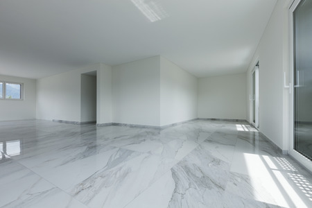 Photo pour Interior of empty apartment, wide room with marble floor - image libre de droit