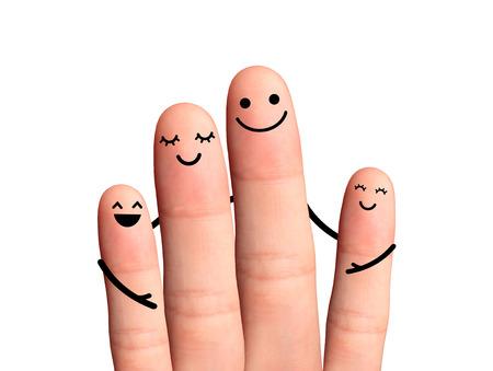 Photo pour  Happy fingers hug on white background  - image libre de droit