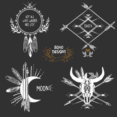 Bohemian designs. Vector set.