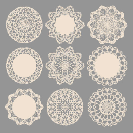 Illustration for Round lace napkins. Vector collection - Royalty Free Image
