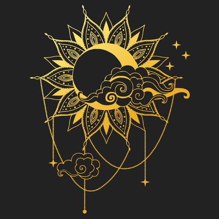Illustration for Moon and Sun on black background. Vector illustration - Royalty Free Image