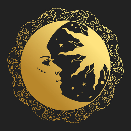 Ilustración de Moon and Sun in round frame. Vector illustration in retro style - Imagen libre de derechos