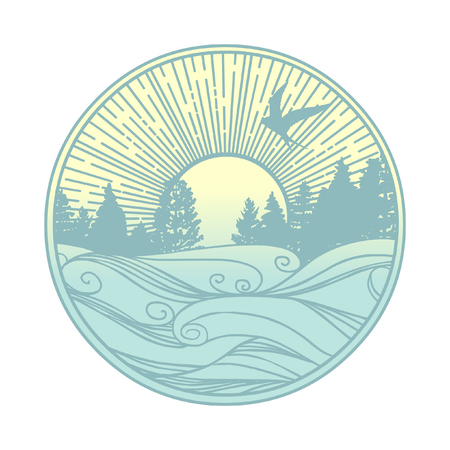 Ilustración de Nordic landscape. Coniferous forest on the coast of a lake or river. Vector template for logo, t-shirt print and other designs - Imagen libre de derechos