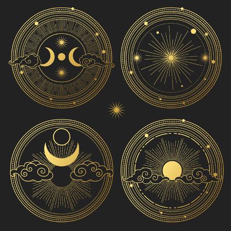 Illustration pour Set of decorative design elements. Moon, sun, planets and stars. Vector templates. - image libre de droit