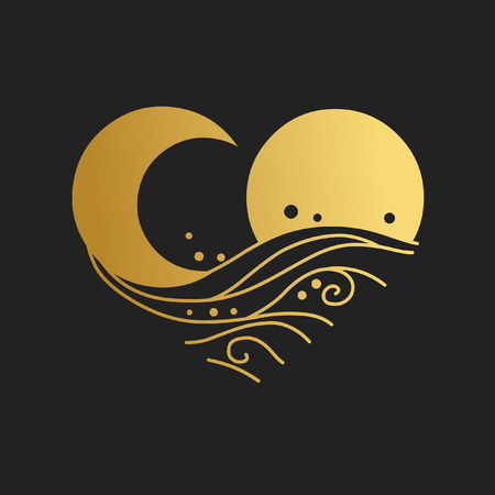 Ilustración de Sun, moon, sea waves. Decorative graphic design element. Vector hand drawing illustration - Imagen libre de derechos