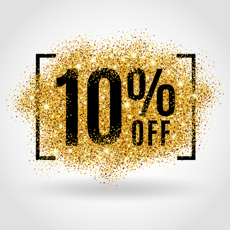 Illustration pour Gold sale 10% percent on gold background. Gold sale background for poster, shopping, for sale sign, discount, marketing, selling, banner, web, header. Gold blur background - image libre de droit