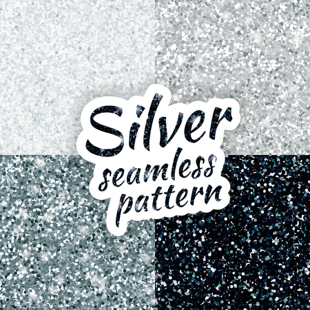 Illustration for Silver sparkles texture, with shine and glossy confetti. Silver glitter for texture or background, for xmas, year, new, holiday, festive, event. - Royalty Free Image
