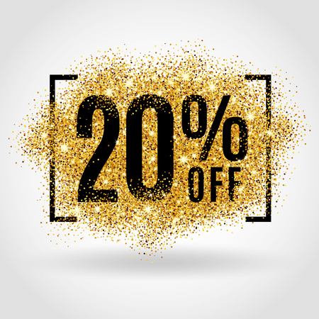 Illustration pour Gold sale 20% percent on gold background. Gold sale background for poster shopping for sale sign discount, marketing, selling, banner, web, header. Gold blur background - image libre de droit
