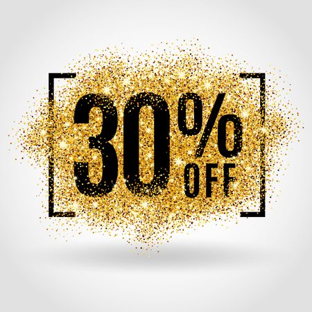 Illustration pour Gold sale 30% percent on gold background. Gold sale background for poster, shopping, for sale sign, discount, marketing selling, banner web header. Gold blur background - image libre de droit