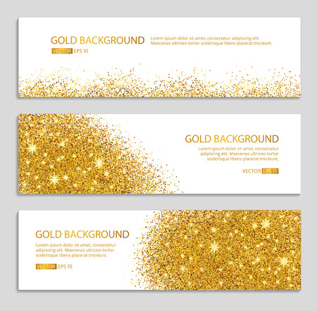 Illustration pour Gold sparkles white background. Gold banner. Gold background. Gold club with text.  web,  card, vip, exclusive, certificate, gift, luxury, voucher, store, shopping, sale. - image libre de droit
