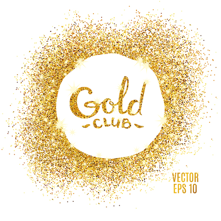 Illustration pour Gold sparkles on white background. Gold glitter background. Gold club icon for card, vip exclusive certificate, gift luxury, privilege voucher. Store present, shopping. - image libre de droit