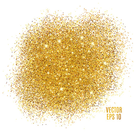 Illustration for Gold sparkles on white background. Gold glitter background. Gold background for card, vip, exclusive. Gold certificate, gift, luxury privilege. Voucher store present, shopping. - Royalty Free Image