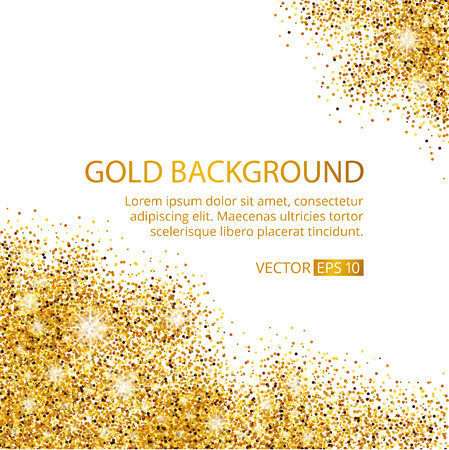 Illustration pour Gold sparkles corner on white background. Gold glitter background. Gold text for card, vip exclusive, certificate gift, luxury, privilege voucher. Store, present, shopping. - image libre de droit