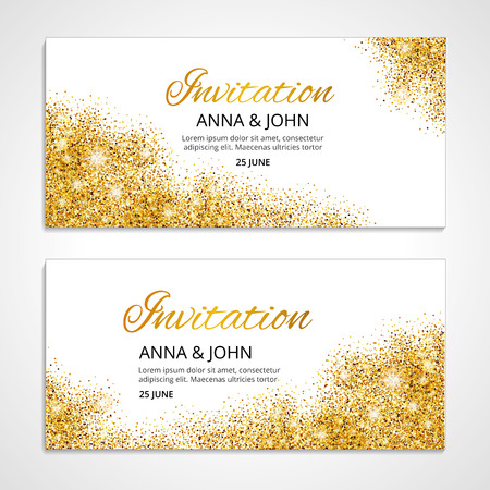 Illustration for Gold wedding invitation for wedding, background, anniversary marriage engagement. Gold background. Golden greeting card. Save the date. Golden light and bright sparkles. For  invitation. - Royalty Free Image