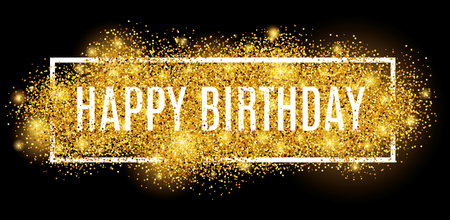 Illustration pour Gold sparkles background Happy Birthday. - image libre de droit