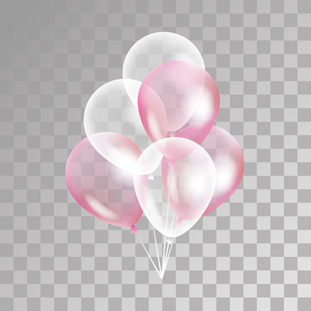 Ilustración de Pink transparent balloon on background. Frosted party balloons for event design. Balloons isolated in the air. Party decorations for birthday, anniversary, celebration. Shine transparent balloon. - Imagen libre de derechos