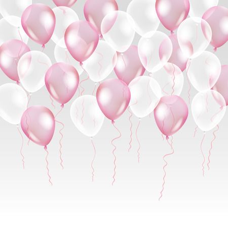 Illustration pour Pink transparent balloon on background. Frosted party balloons for event design. Balloons isolated in the air. Party decorations for birthday, anniversary, celebration. Shine transparent balloon. - image libre de droit