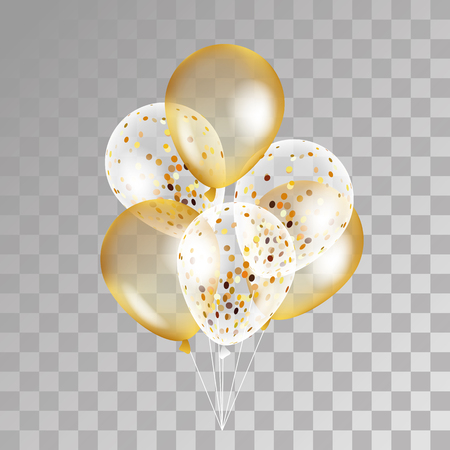 Illustration pour Gold transparent balloon on background. Frosted party balloons for event design. Balloons isolated in the air. Party decorations for birthday, anniversary, celebration. Shine transparent balloon. - image libre de droit