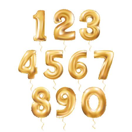 Illustration pour Metallic Gold Letter Balloons, 123 golden numeral alphabeth. Gold Number Balloons, 1, Alphabet Letter Balloons, 2, Number Balloons, 3 Air Filled Balloon - image libre de droit