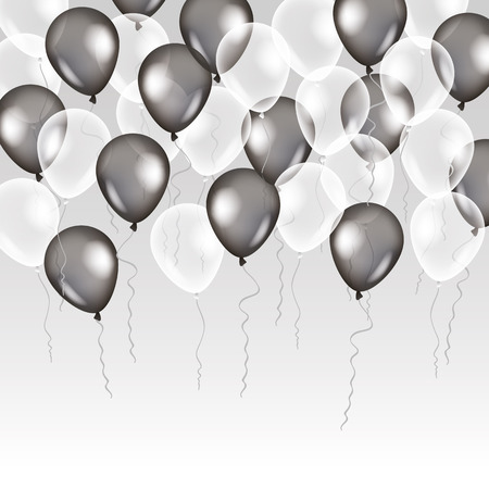 Illustration pour Black white transparent balloon on background. Frosted party balloons for event design. Balloons isolated in the air. Party decorations for birthday, anniversary, celebration. Shine transparent balloon. - image libre de droit