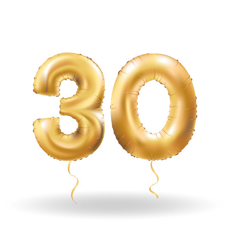Illustration pour Golden number thirty metallic balloon. Party decoration golden balloons. Anniversary sign for happy holiday, celebration, birthday, carnival, new year. Metallic design balloon. - image libre de droit
