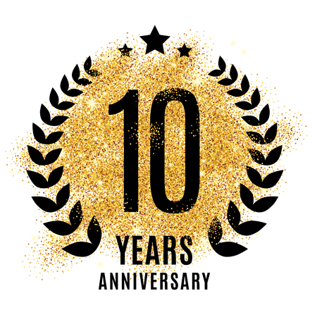 Photo for Ten years golden anniversary sign. Gold glitter celebration. Light bright symbol for event, invitation, award, ceremony, greeting. Laurel and star emblem, luxury elegant icon. - Royalty Free Image