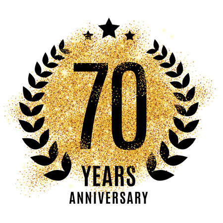 Illustration for Seventy years golden anniversary sign. Gold glitter celebration. - Royalty Free Image