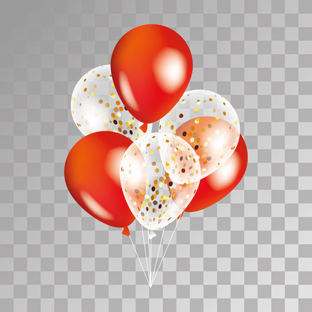 Illustration pour Gold and red transparent balloon on background. Party balloons for event design. Balloons isolated in the air. Party decorations for birthday, anniversary, celebration. Shine transparent balloon. - image libre de droit