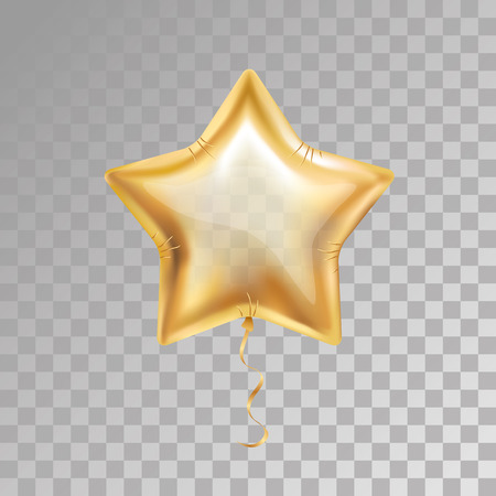 Illustration pour Gold star balloon on transparent background. Party balloons event design decoration. Balloons isolated air. Party decorations wedding, birthday, celebration, anniversary, award. Golden balloon, 23 february - image libre de droit