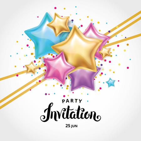 Ilustración de Gold star balloon Bouquet invitation - Imagen libre de derechos