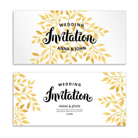 Illustration for Gold Floral invitation - Royalty Free Image