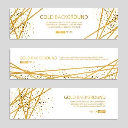 Illustration for Gold Sparkles banner Background Vector illustration. - Royalty Free Image
