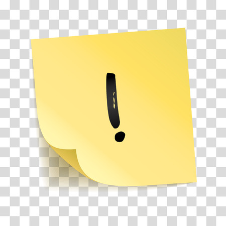 Ilustración de Note yellow sticker exclamation point. Information notice, alarm sign. Typography icon on stick. Transparent background, shadow, memory board. To do list. Sticky message, graphic text. - Imagen libre de derechos