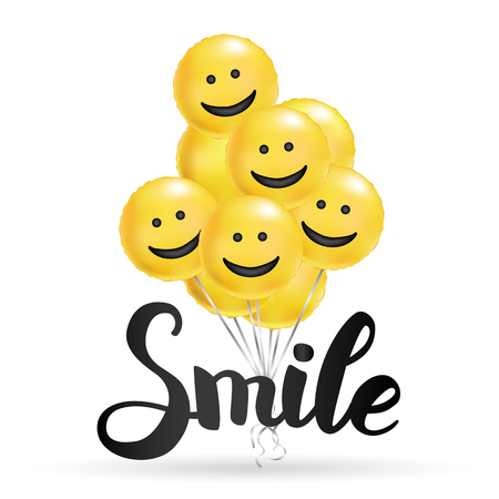 Illustration pour Smile yellow balloons background. Fun character people, bright balloon. Smiley, Funny friends. Comic text, humor message, Greeting card, motivation design, Laughing face. Positive mood poster banner - image libre de droit