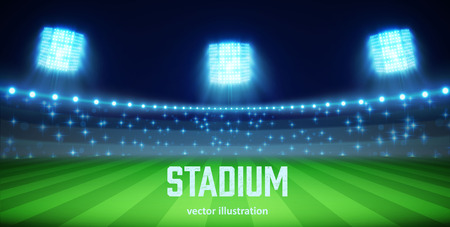 Ilustración de Illustartion of stadium with lights and tribunes  - Imagen libre de derechos