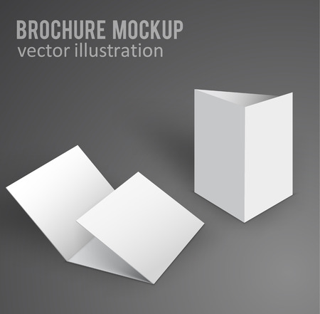 Illustration for vector illustration of white mockup broshure 3d with shadow - Royalty Free Image