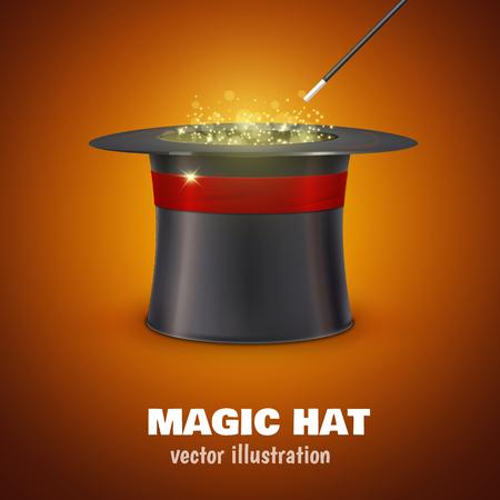 Ilustración de Illustartion of vector MAGIC HAT with red ribbon - Imagen libre de derechos