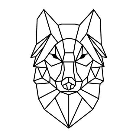 Illustration pour Modern Geometry Wolf Design Tattoo Vector Image - image libre de droit