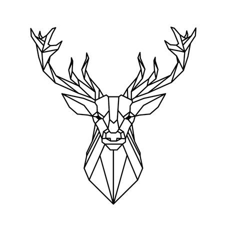 Illustration pour Modern Geometry Reindeer Design Tattoo Vector Image - image libre de droit