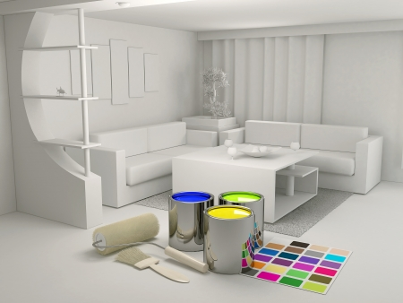 Photo pour Cans of paint and a roller in the room - image libre de droit