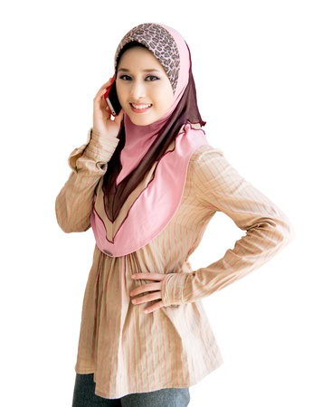 pretty young muslim woman with phone