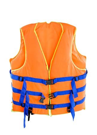 Foto de Orange Life jacket with isolated white  - Imagen libre de derechos