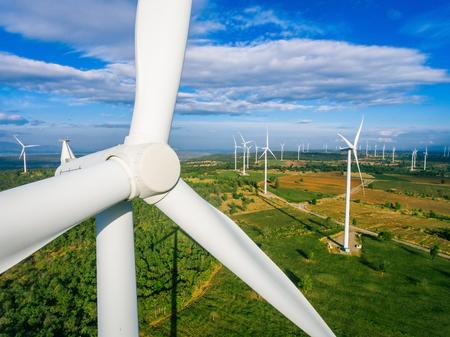 Foto de Wind turbine from aerial view. Sustainable development, environment friendly concept. Wind turbine give renewable energy, sustainable energy, alternative energy. Wind sustainability energy. - Imagen libre de derechos