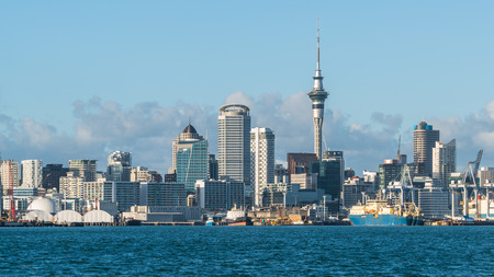 Photo pour Auckland city skyline at city center and Auckland Sky Tower, the iconic landmark of Auckland, New Zealand. - image libre de droit