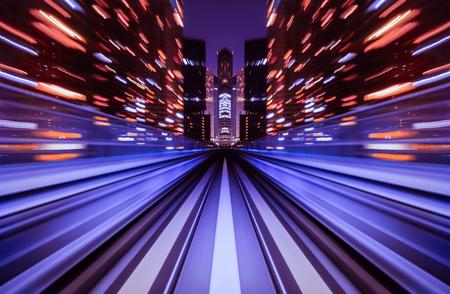 Photo pour Motion blur train moving in city rail tunnel. Motion blur background abstract. - image libre de droit